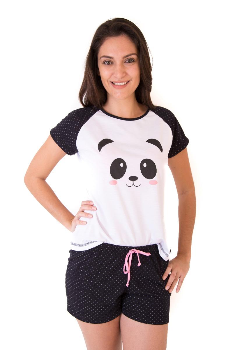 d7d2c3716d Pijama Feminino Panda Adulto Curto Com Shorts - Short Doll - R  59 ...