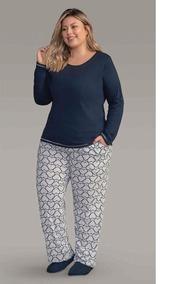 c2f544182b367c Pijama Feminino Plus Size Longo Adorável Lua Encantada