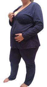 3fb3f10bb42d16 Pijama Feminino Plus Size Longo Até Tamanho 56 Gestante 7885