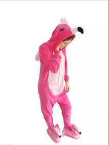 fad090d5453911 Pijama Flamingo Macacão Kigurumi Barato + Pantufa Flamingo