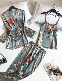 4dbbc9065019b7 Pijama Floral Sleepwear Inverno Camisola Robe Conjuntos 2019
