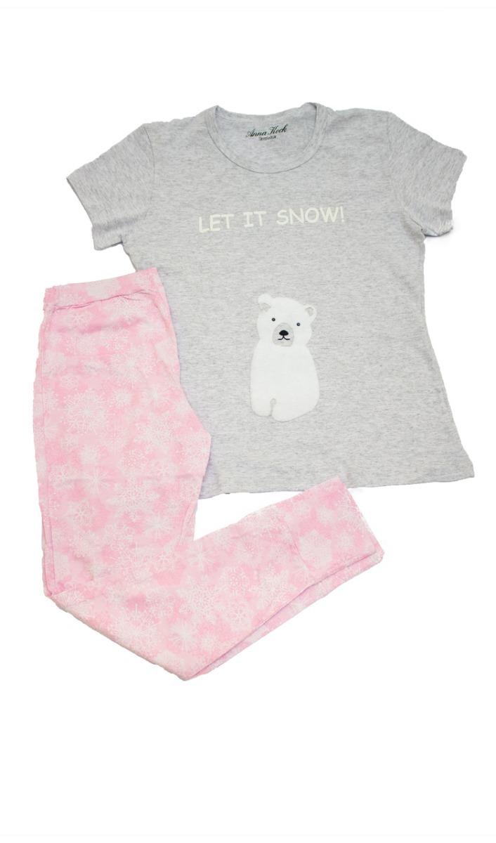 6173435c03839a Pijama Frio Feminino Manga Curta E Calça Legging Urso Algodã