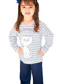1a15e3829e365a Pijama Gatinho Infantil Longo Fechado Feminino Inverno