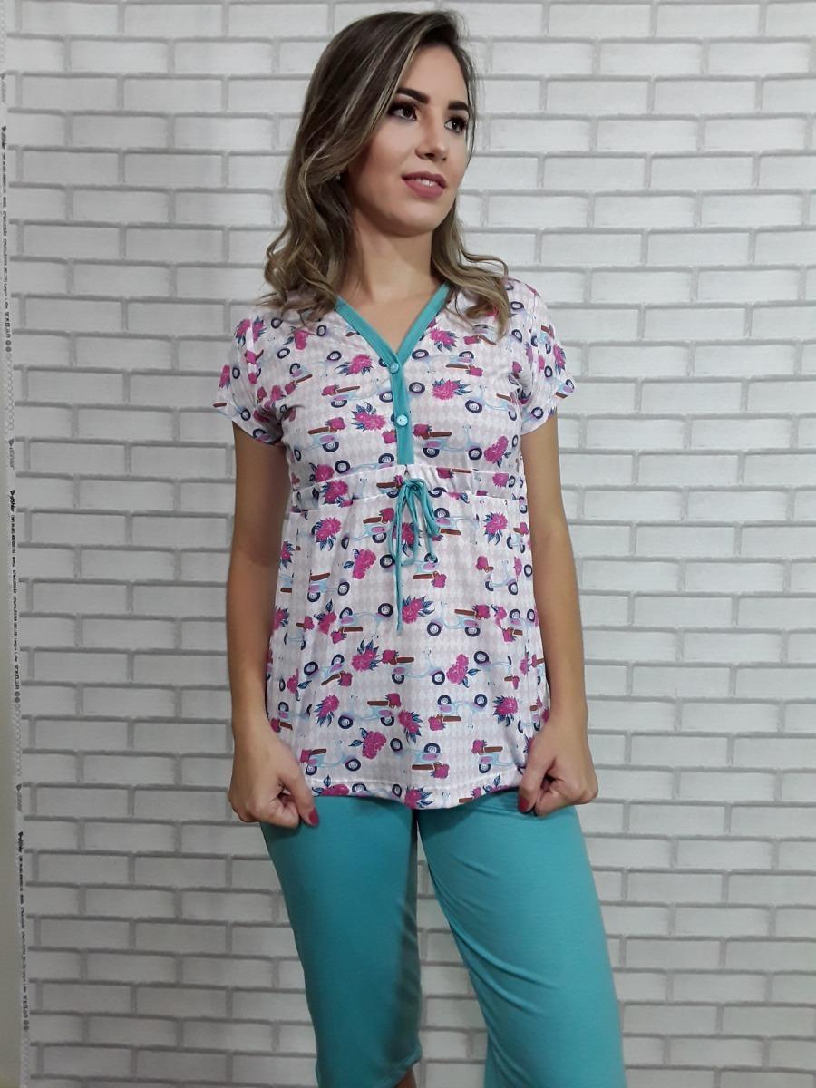 dd595b795fe30e Pijama Gestante Maternidade Capri Com Botões E Amarril 3898