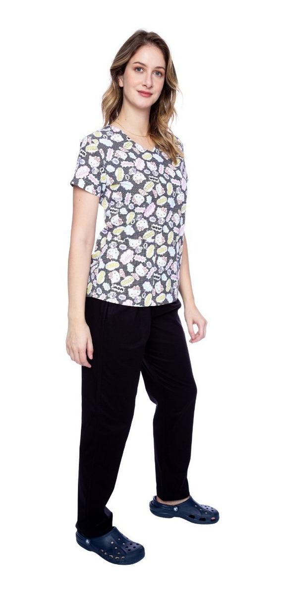a9903901c Pijama Hospitalar Feminino Hello Kitty Faíko Jalecos - R$ 159,00 em ...