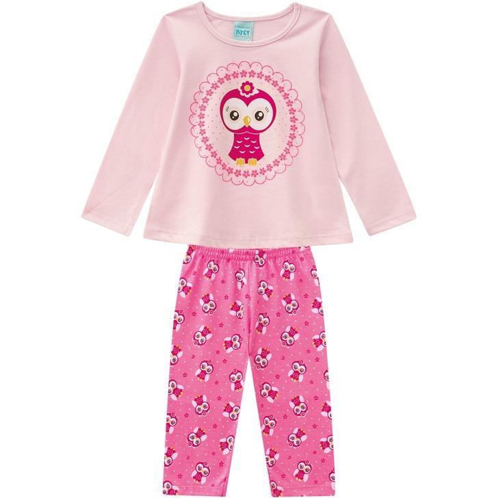 8f1a8dc5a Pijama Infantil Feminino Blusa + Calça - Kyly-rosa-3 - R  82