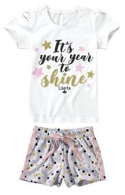 909536dc6 Pijama Infantil Feminino Branco Shine Malwee