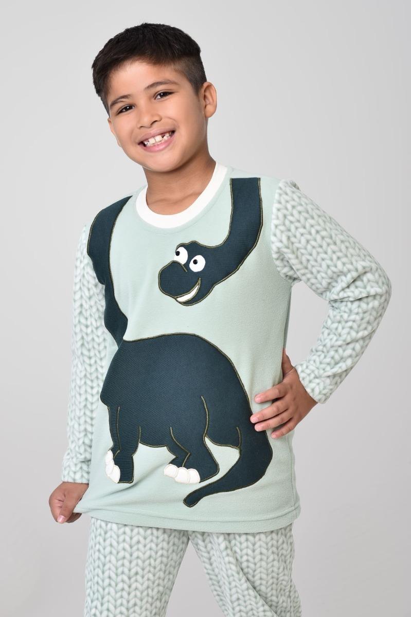 6cdcd34a7ba374 Pijama Infantil Masculino Inverno Soft De Dinossauro Tam 14