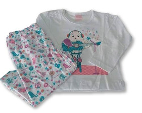 38c48dfe93fc98 Pijama Infantil Menina Inverno 100% Algodão Moleton 12x S/ju