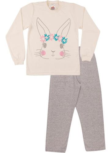 pijama infantil menina meia malha longo inverno bunny