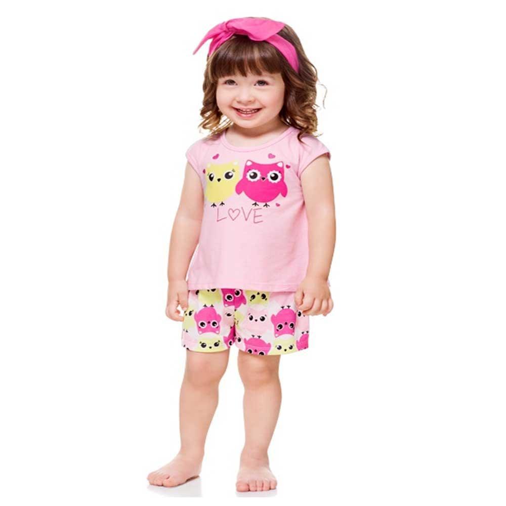 07c9fcddc pijama infantil menina que brilha no escuro corujas kyly. Carregando zoom.