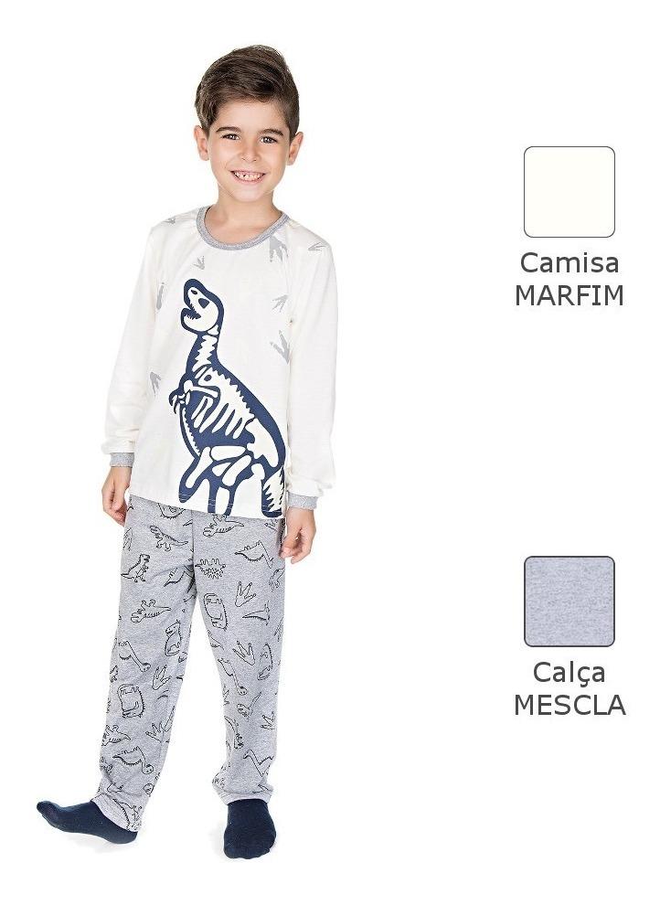 e4fa3d0abd8324 Pijama Infantil Menino Meia Malha Longo Inverno Dinossauro