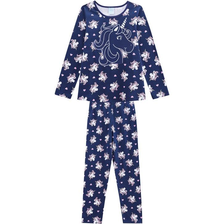 a6e732273 Pijama Infantil Unicórnio Feminino Blusa E Calça - Kyly-azu - R  57 ...
