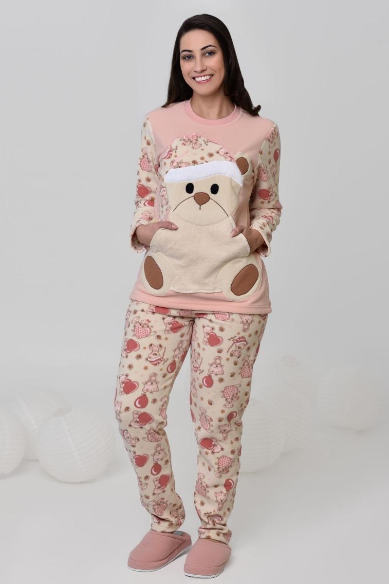 8c2676f69 Pijama Inverno Feminino Soft Com Bolso De Urso Fofo Bordado - R  189 ...