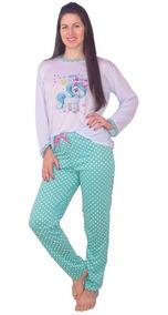 b219f24a1bb7b5 Pijama Inverno Vip Lingerie Adulto Feminino Unicórnio