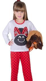 34a3fcb2143295 Pijama Joaninha Infantil Manga Longo Fechado Comprid Inverno