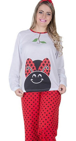 4db9b2bc824fd4 Pijama Joaninha Longo Fechado Feminino Comprida Inverno
