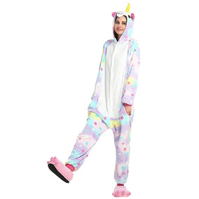 2308dc41e28139 Pijama Kigurumi Macacão Com Touca Do Unicórnio Estrelinha