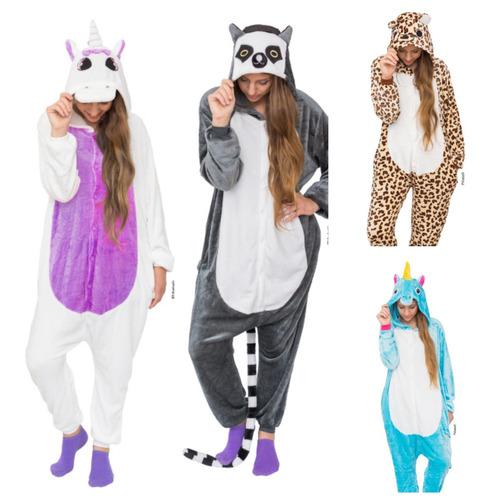 pijama kigurumi ® unicornios lemur leopardo adulto mameluco