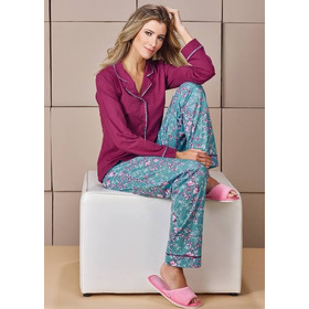 Pijama Longo Botões Tamanho 50 - Demillus