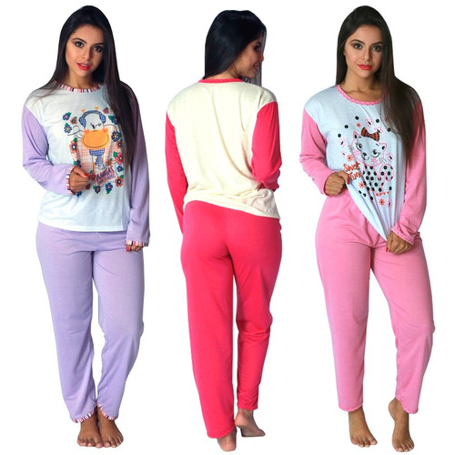 pijama longo fechado feminino manga comprida inverno 010