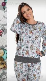 b8f89d935a55f1 Pijama Longo Feminino C/ Tamanhos Plus Size Inverno C/ Punho