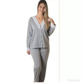 90377ebf514ac5 Pijama Longo Feminino Moletinho Aberto Detalhe Renda Inverno