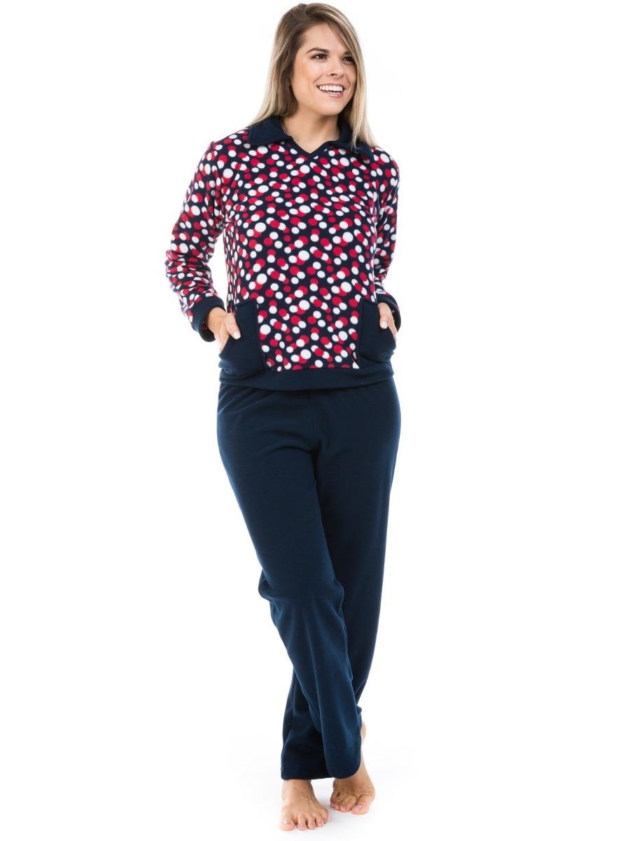 40baf300a pijama longo feminino de soft super quente com bolso dulmar. Carregando  zoom.