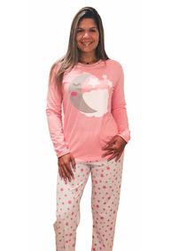1b1a640a82e217 Pijama Longo Feminino Inverno Algodão Rosa Noite