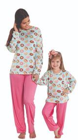 759f29412abea9 Pijama Longo Feminino Tal Mãe Tal Filha Rosquinhas Oferta