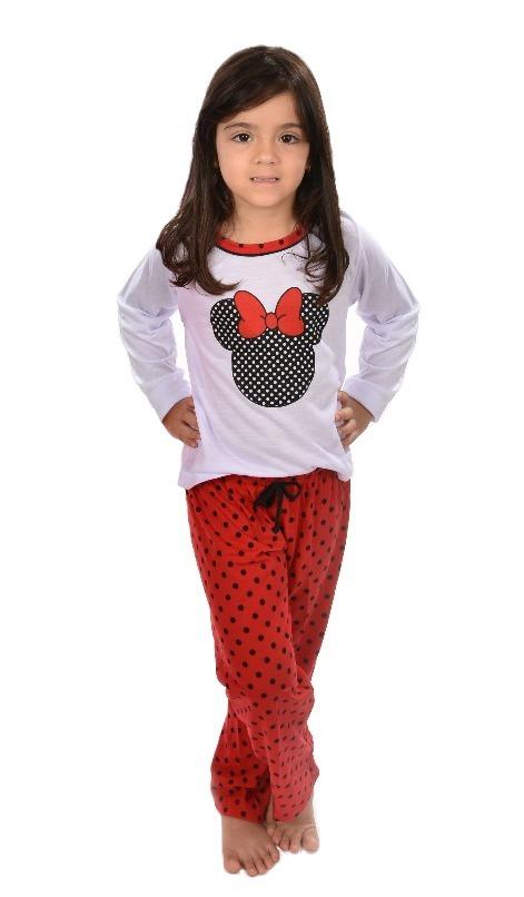 44005ce3fa3516 Pijama Longo Infantil Minnie Feminino Inverno