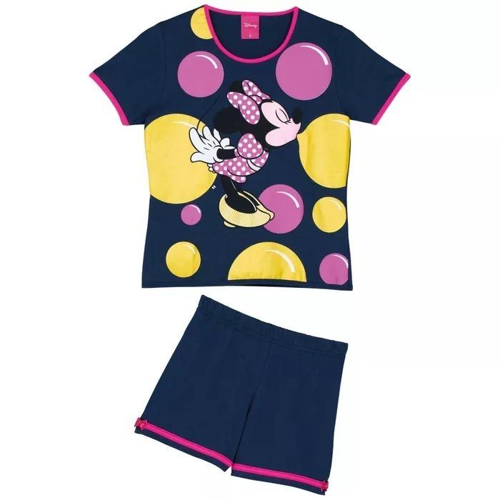 8ad153fde2e6ea Pijama Lupo Disney Minnie Infantil Meninas Azul Com Rosa