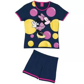 8d249defc03398 Pijama Lupo Disney Minnie Infantil Meninas Azul Com Rosa