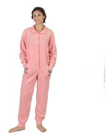 0622b8224c23bf Pijama Macacão Adulto Em Soft Com Bordado E Botões Laço