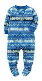 b11719b98b778d Pijama Macacão Com Pé Carters 2 A 5 Anos Menino Soft Fleece