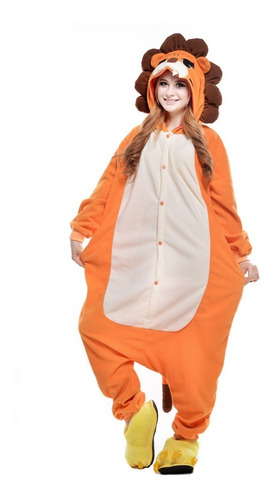 pijama macacão kigurumi fantasia leão adulto malha verão