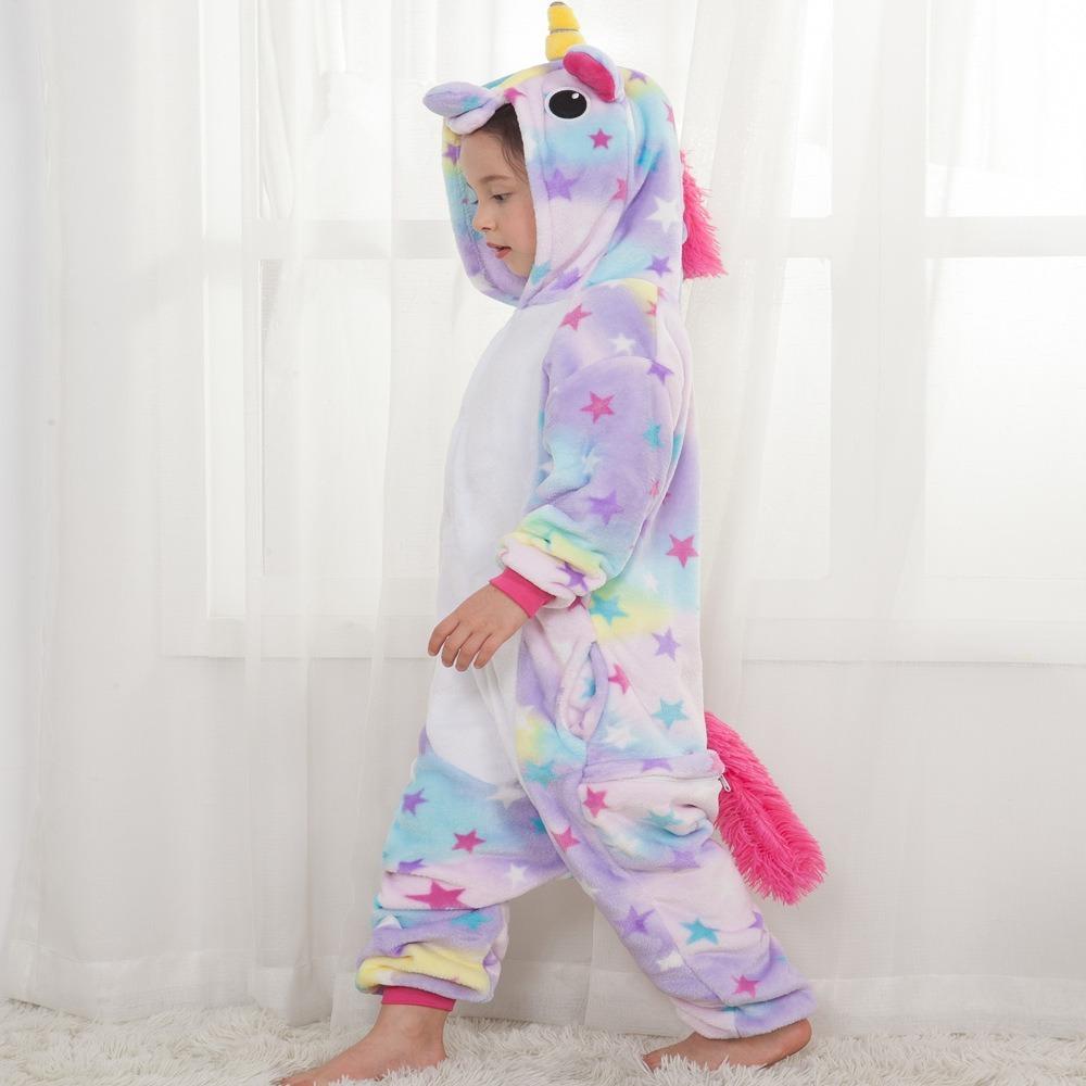 f6a387c394bbfc Pijama Macacão Unicórnio Kigurumi Estrelinha Infantil *