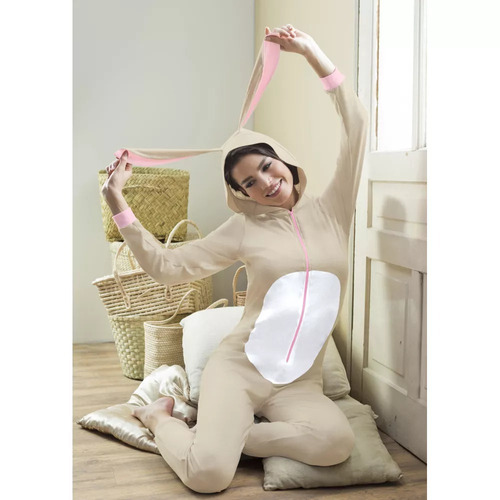 pijama mameluco con orejas de conejo café algodón