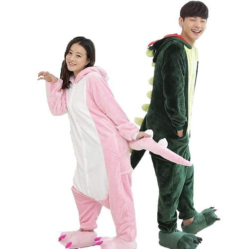 pijama mameluco disfraz dinosaurio verde/ rosa adulto envío