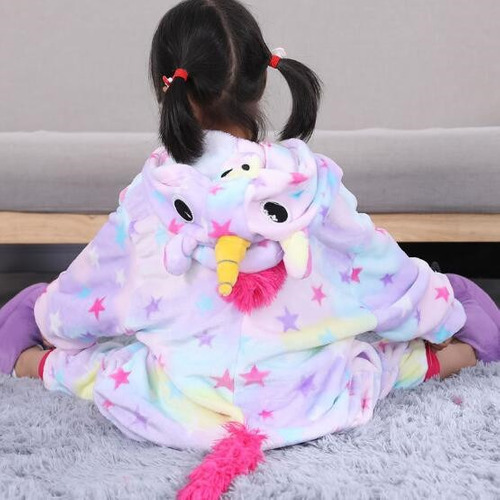 pijama mameluco disfraz diseño unicornio c/estrellas p/niños