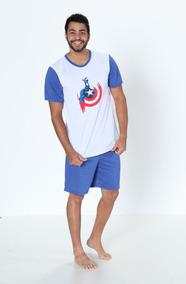 2e324155bf2413 Pijama Masculino Curto Malha 100% P V Super Herói Promoção