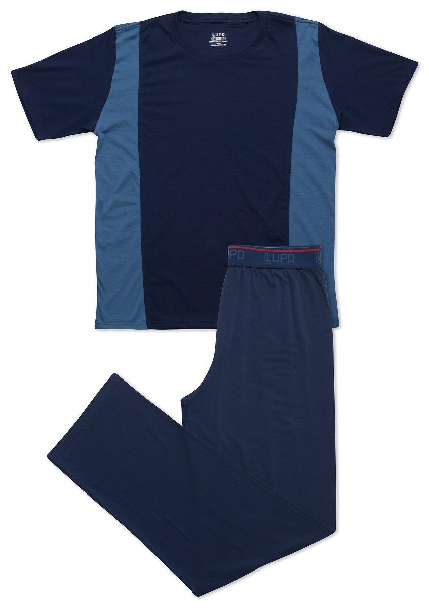 45ae2f65e pijama masculino lupo expo longo manga curta algodão azul. Carregando zoom.