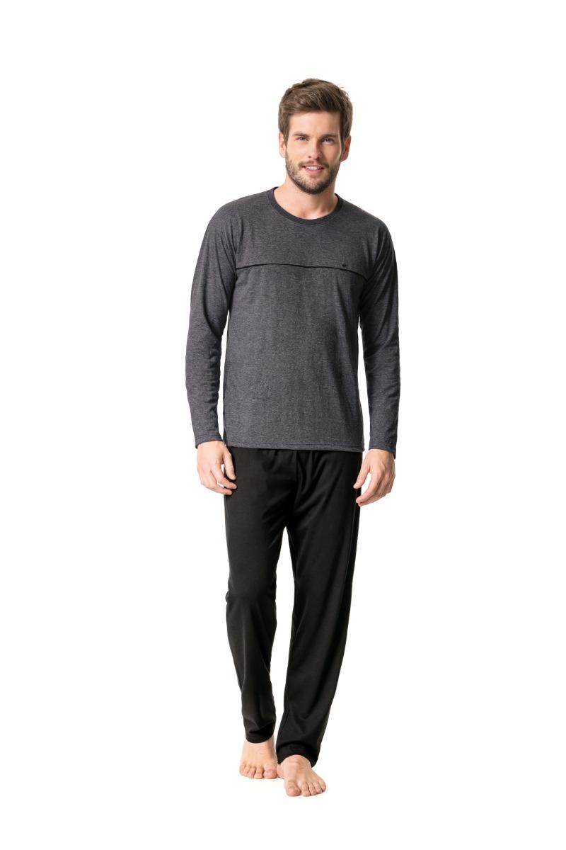 1fe9c4d35 pijama masculino manga longa malha mesclada malwee original. Carregando zoom .