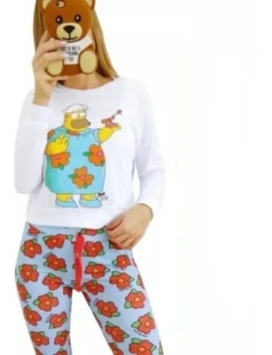 pijama mujer invierno stitch dibujando moda algodon conjunto