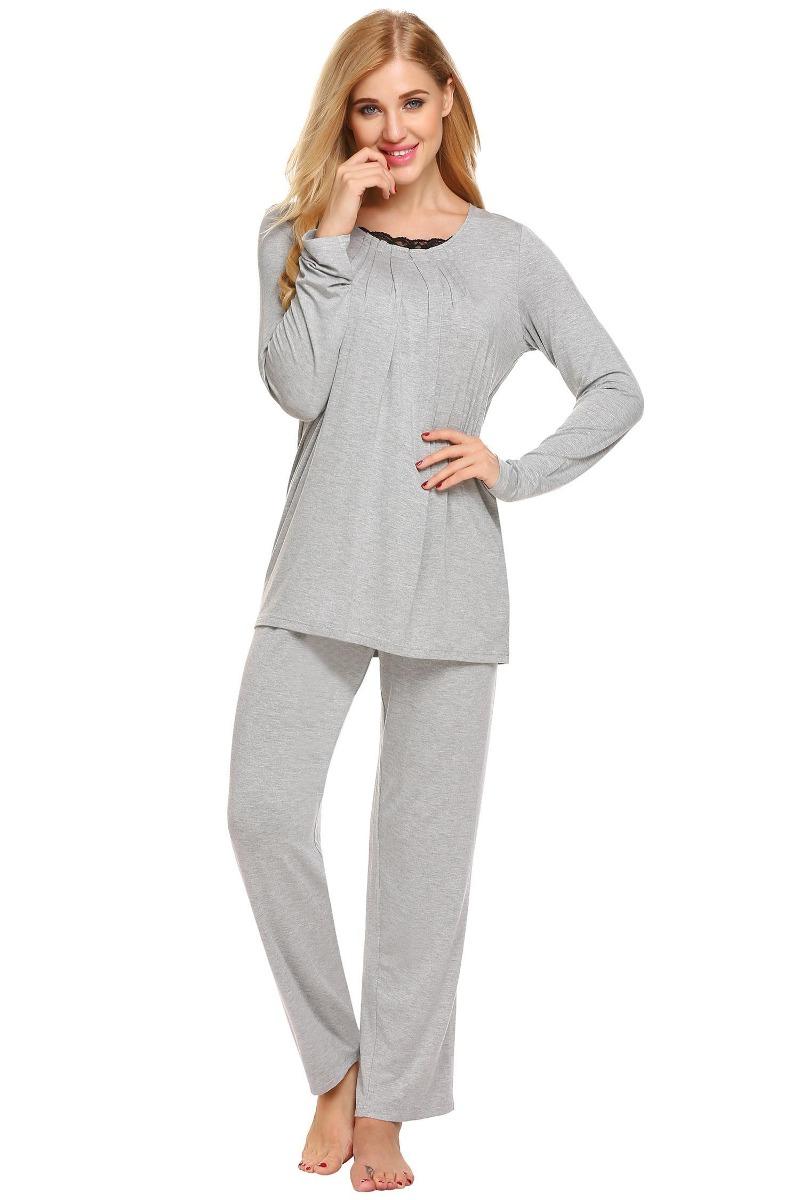 pantal larga set delantera plisada mujer manga camisa pijama tw6CqZx0n