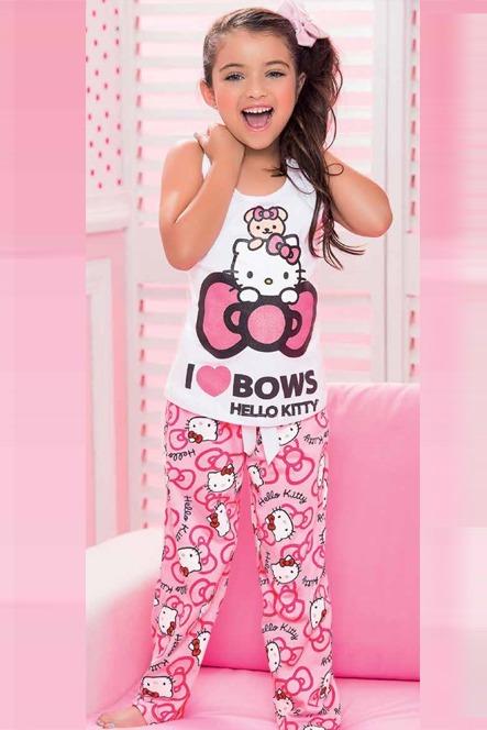 d3ad22f98 Pijama Niña Conjunto Pantalón Manga Corta Hello Kitty Dormir ...