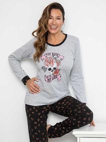 20335 Con Estampado Pijama Casaca Florcitas Lisa Pantalon 0Ok8Pnw