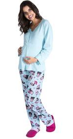 921b6235b70b15 Pijama Para Gestante E Maternidade Com Botoes De Inverno