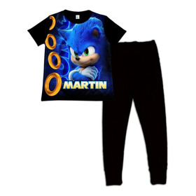 Pijama Para Niños Niño Sonic Personalizada Algodon 10-14