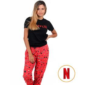 Pijama Piernas Largas Netflix Remera Negra - Store Mykonos
